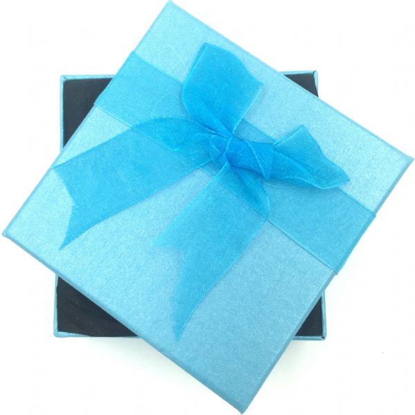 24 boxes x 8.5*8.5*3cm bracelet boxes with ribbon bow - Turquoise  (£0.45 each)